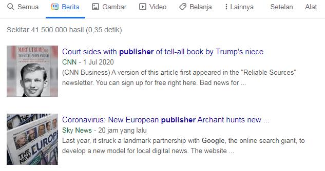 Contoh Tampilan Google Berita
