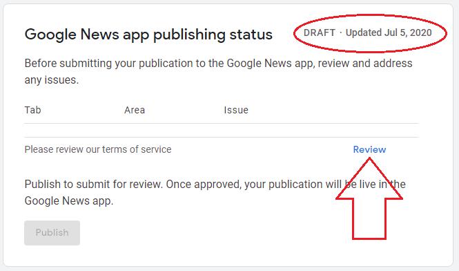 Persetujuan TOS Google Berita