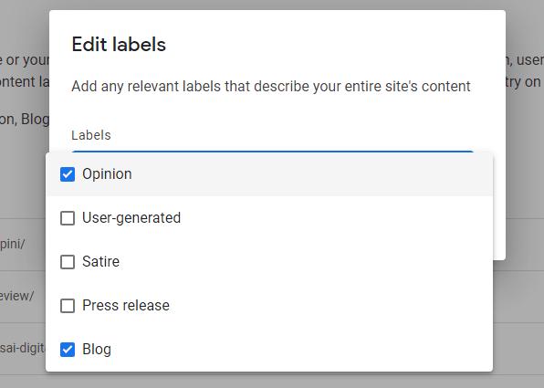 Content Label Google News